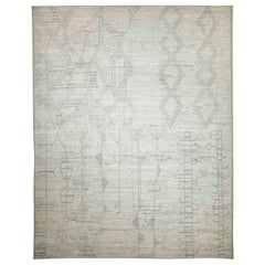Modern Afghan Moroccan Style Rug with Gray Tribal Patterns on Ivory Field