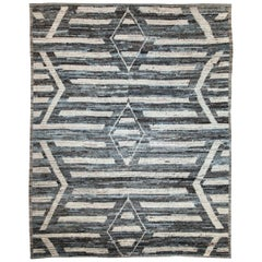 Modern Afghan Moroccan Style Rug with Ivory Tribal Details on Blue & Brown Field