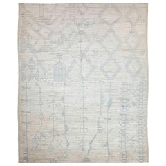 Modern Afghan Moroccan Style Rug with Mixed Tribal Patterns in Gray