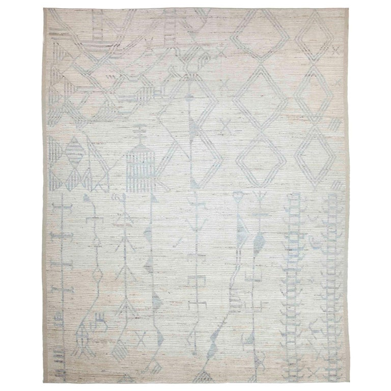 Modern Afghan Moroccan Style Rug with Mixed Tribal Patterns in Gray For Sale