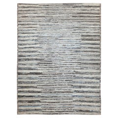 Modern Afghan Moroccan Style Rug with Sky Blue and Brown Streaks on Ivory Field