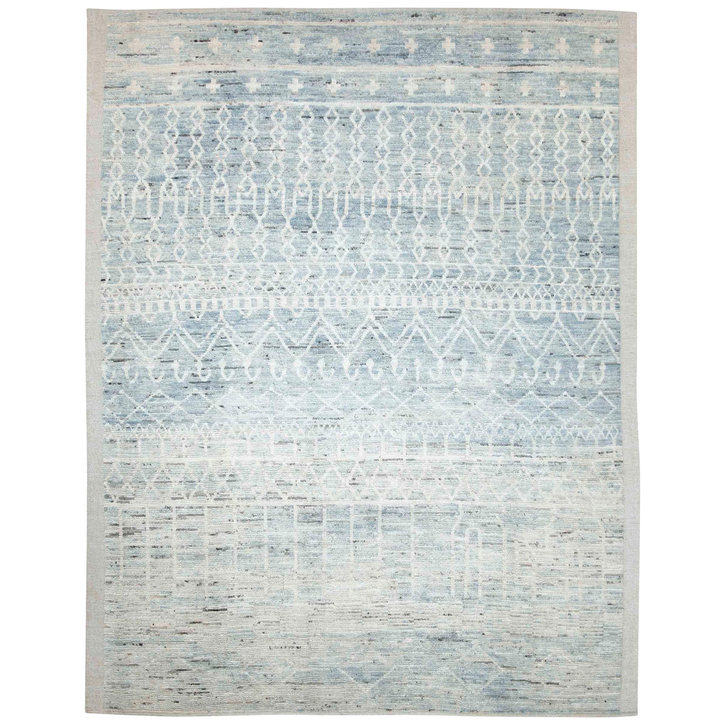 Modern Afghan Moroccan Style Rug with Tribal Details in Ivory and Blue
