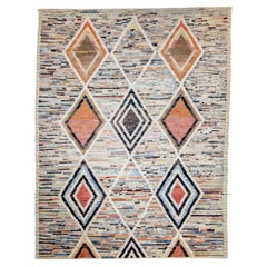 Modern Afghan Moroccan Style Rug with Tribal Diamonds on Colorful Field