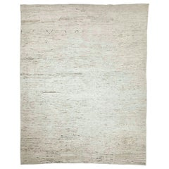 Modern Afghan Moroccan Style Rug with White & Brown Tribal Details on Ivory Fiel