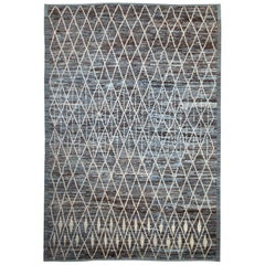 Modern Afghan Moroccan Style Rug with White Tribal Details on Brown & Blue Field