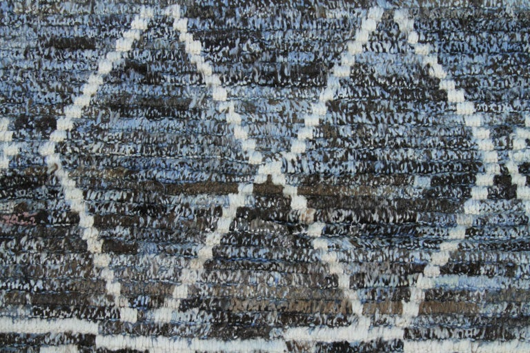 Hand-Woven Modern Afghan Moroccan Style Rug with White Tribal Patterns on Blue & Brown Fiel For Sale
