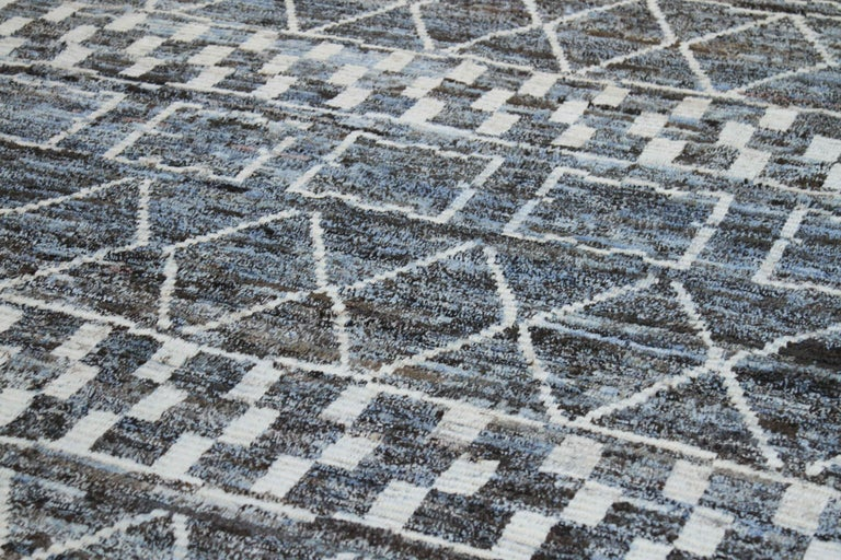 Modern Afghan Moroccan Style Rug with White Tribal Patterns on Blue & Brown Fiel In New Condition For Sale In Dallas, TX