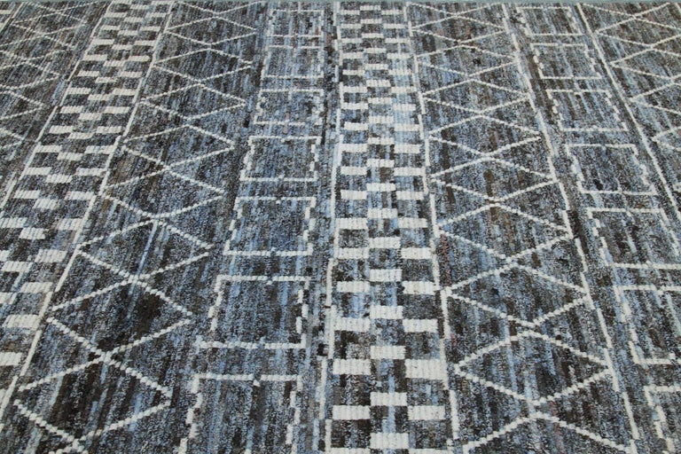 Contemporary Modern Afghan Moroccan Style Rug with White Tribal Patterns on Blue & Brown Fiel For Sale