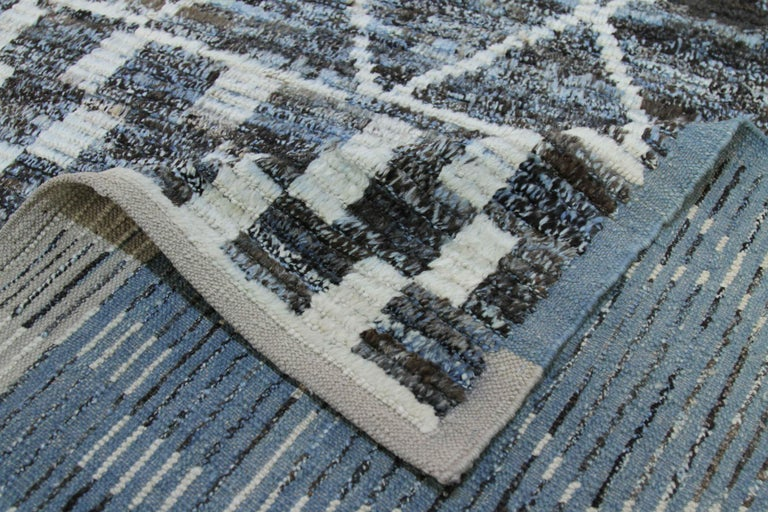 Wool Modern Afghan Moroccan Style Rug with White Tribal Patterns on Blue & Brown Fiel For Sale