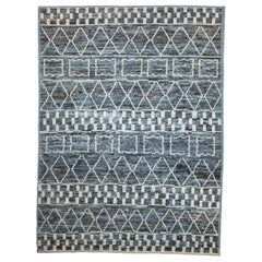 Modern Afghan Moroccan Style Rug with White Tribal Patterns on Blue & Brown Fiel