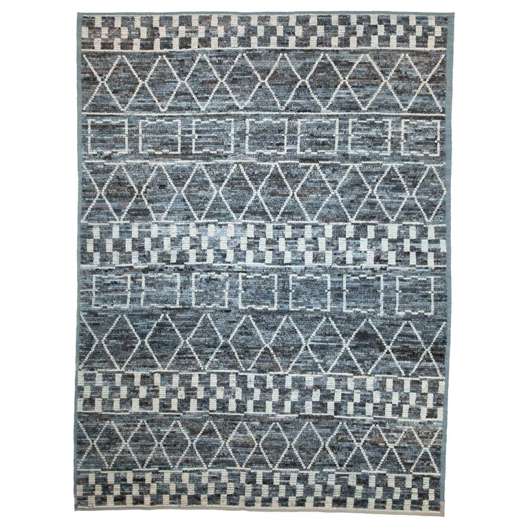 Modern Afghan Moroccan Style Rug with White Tribal Patterns on Blue & Brown Fiel For Sale