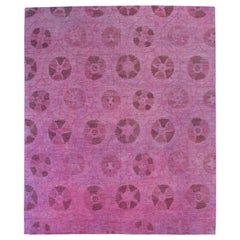 Modern Afghan Overdye Rug with Pink and Purple Botanical Details