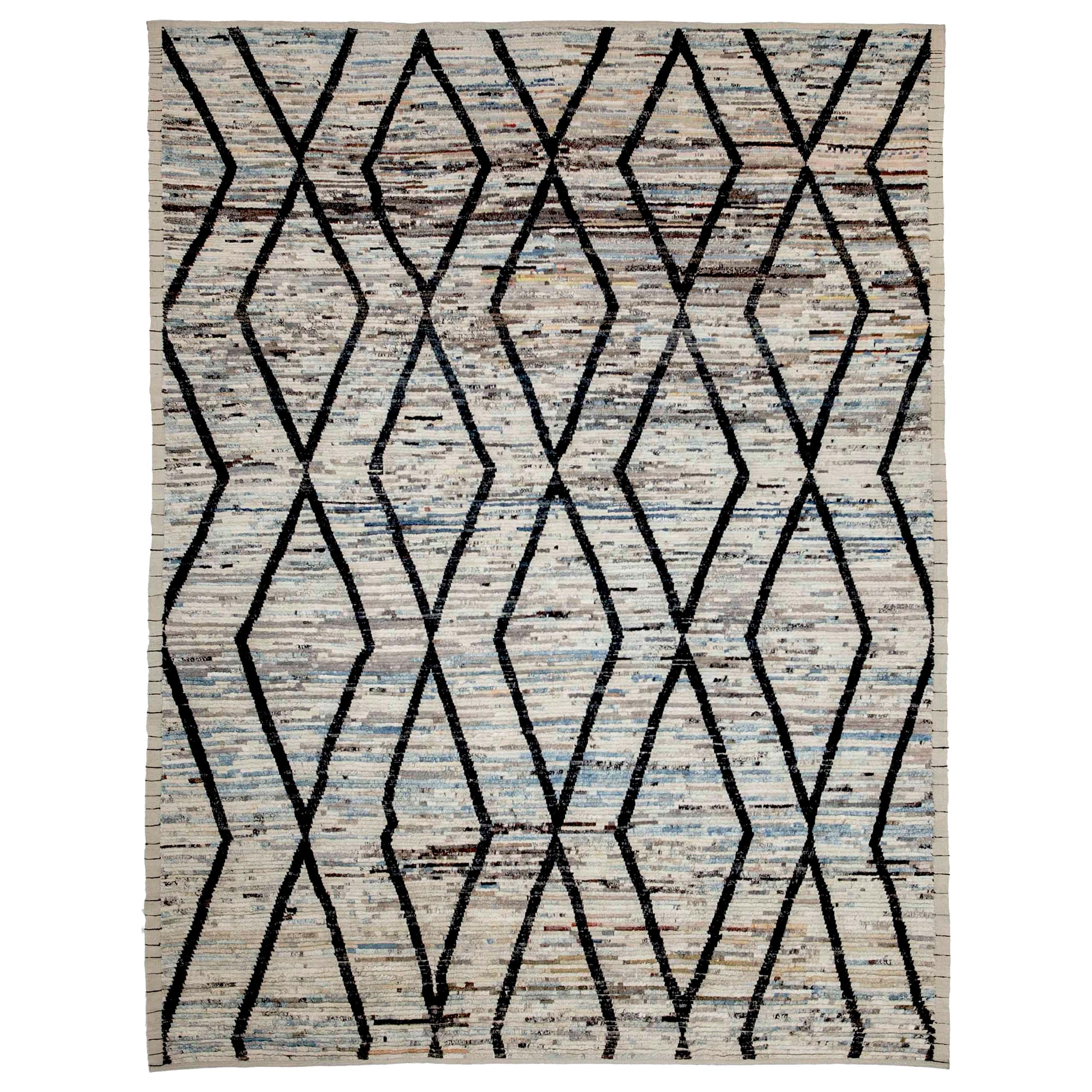 Modern Afghan Rug in Moroccan Style with Black Tribal Diamond Details