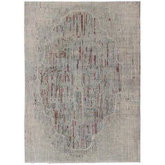 Modern Afghan Rug with Abstract Pattern