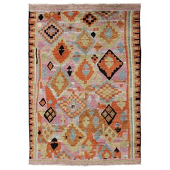 Modern Afghan Rug with Colorful Abstract Pattern