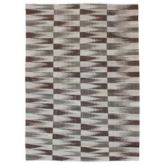 Modern Afghanistan Kilim with Browns and Gray Green