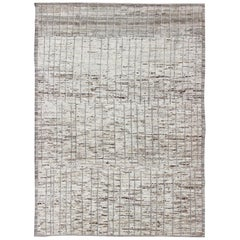 Modern Afghanistan Rug with All-Over Pattern in Muted Tones