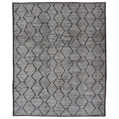 Modern Afghanistan Rug with Moroccan Tribal Minimalist Design in Whit and Blue