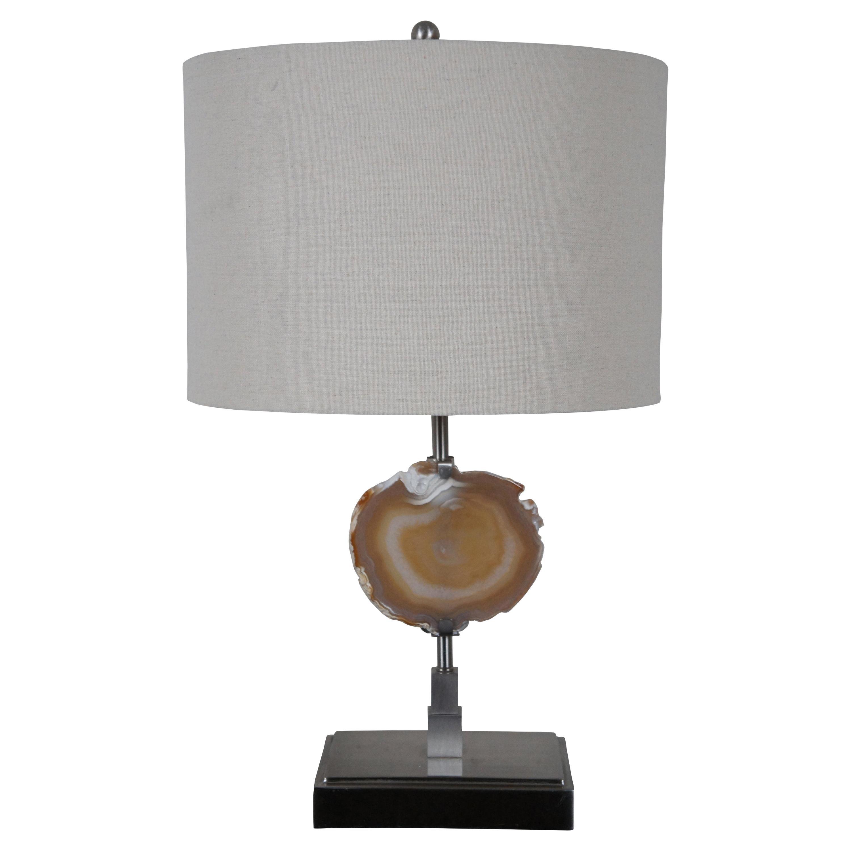 Modern Agate Slice Geode & Steel Table Lamp Natural Rock Specimen Crystal