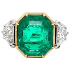 Modern AGL 10.03 Carat Colombian Emerald Diamond 18 Karat Gold Platinum Ring