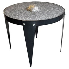 Modern Akomena for Dilmos Iron Low Table Handcut Marble Mosaic Black and Grey