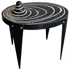 Modern Akomena for Dilmos Iron Low Table Handcut Marble Mosaic Black and White