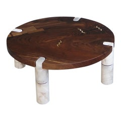 Modern Alabaster Coffee Table Nº1 Claro Walnut Slab by Ordinal Indicator