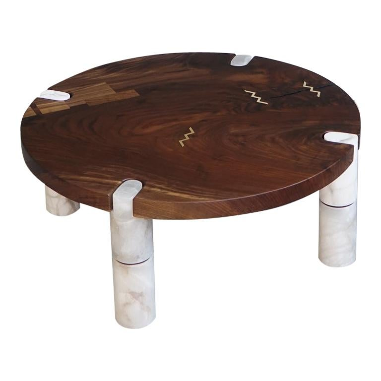 Modern Alabaster Coffee Table Nº1 Claro Walnut Slab For Sale