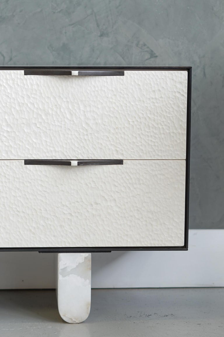 Blackened Modern Swell Credenza in Steel, Alabaster & Bleached Maple by Ordinal Indicator  For Sale