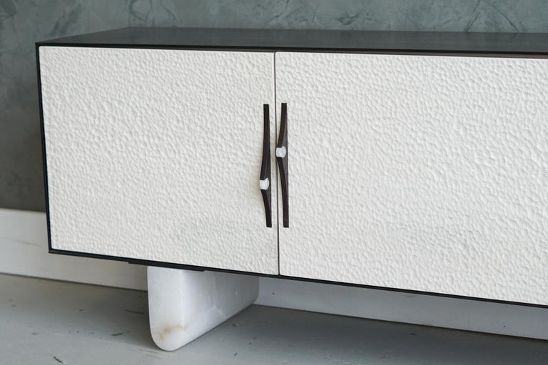Modern Swell Credenza in Steel, Alabaster & Bleached Maple by Ordinal Indicator  In Excellent Condition For Sale In Bronx, NY