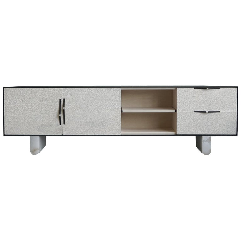 Modern Swell Credenza in Steel, Alabaster & Bleached Maple by Ordinal Indicator  For Sale