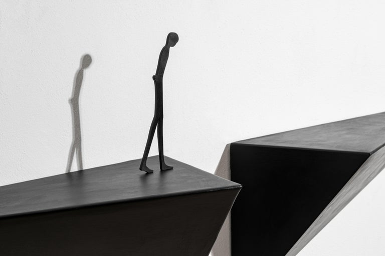 Italian Modern Alex Pinna for Dilmos Shelf Suspended Console Patinated Waxed Metal For Sale