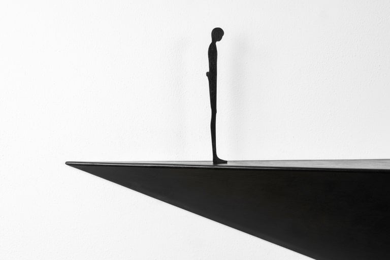 Modern Alex Pinna for Dilmos Shelf Suspended Console Patinated Waxed Metal In New Condition For Sale In Milan, IT