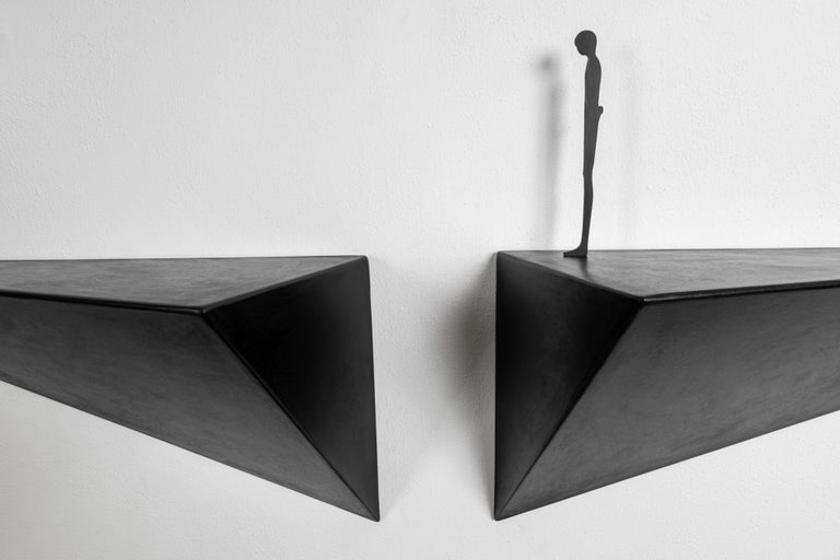 Contemporary Modern Alex Pinna for Dilmos Shelf Suspended Console Patinated Waxed Metal For Sale