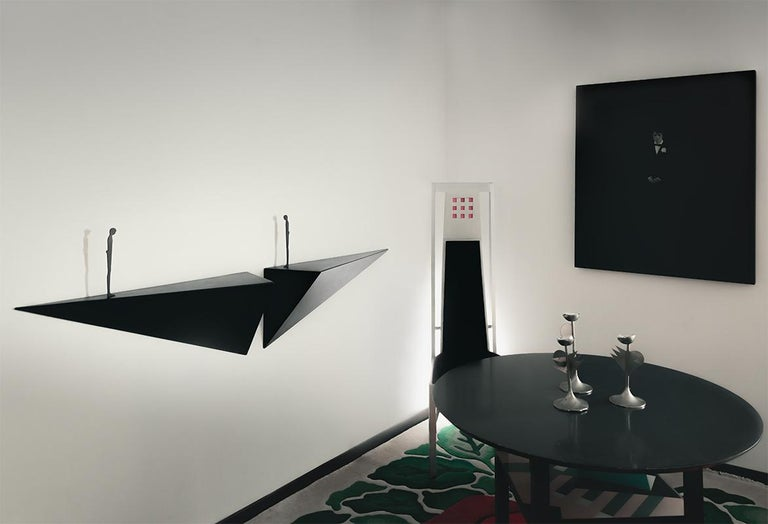 Modern Alex Pinna for Dilmos Shelf Suspended Console Patinated Waxed Metal For Sale 1