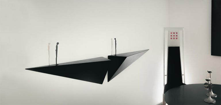 Modern Alex Pinna for Dilmos Shelf Suspended Console Patinated Waxed Metal For Sale 2