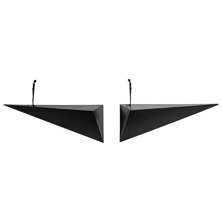Modern Alex Pinna for Dilmos Shelf Suspended Console Patinated Waxed Metal For Sale