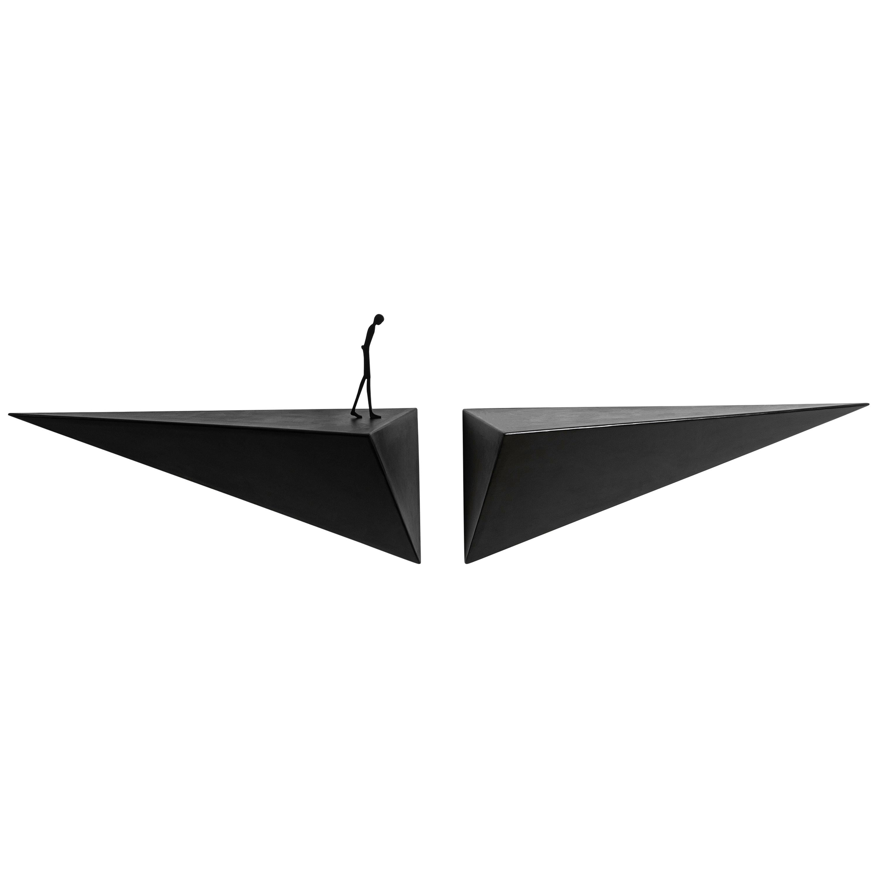 Modern Alex Pinna for Dilmos Shelf Suspended Console Patinated Waxed Metal