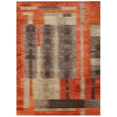 Modern Alfonsina-Rustic Hand Knotted Wool Rug in Beige, Taupe, Orange & Carmine