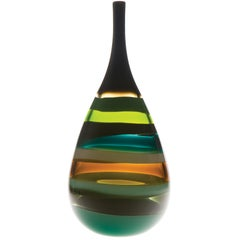 Modern American Jade Teardrop Vase, Blown Glass, Handmade, Sculpture, In Stock