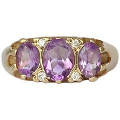 Modern Amethyst and Diamond 9 Carat Gold Three-Stone Ring