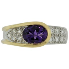 Modern Amethyst Diamond Platinum and Gold Two-Tone Ring