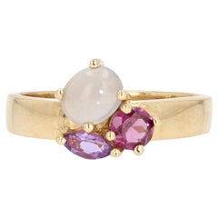 Modern Amethyst Garnet Moonstone 18 Karat Yellow Gold Ring