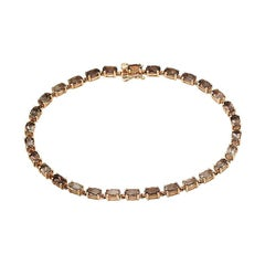 Modern and Chick Quartz Fine Jewellery Pink Gold Tennis Bracelet