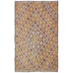 Modern and Colorful Vintage Turkish Flat-Weave Kilim Rug with Geometric Diamonds
