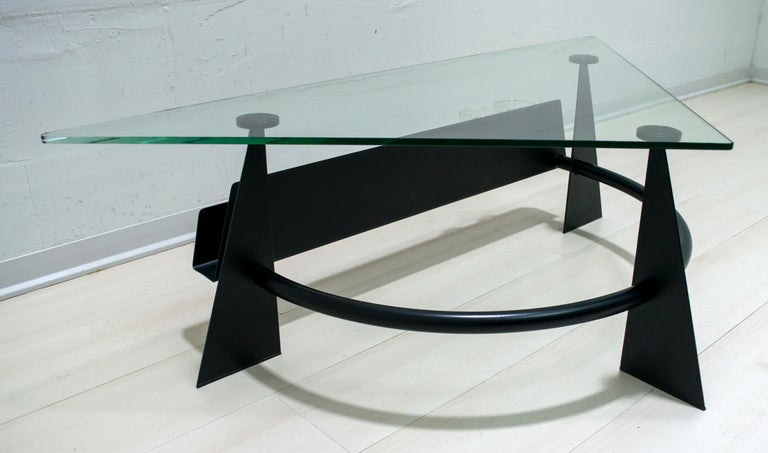 Modern and Contemporary Italian Coffee Table Blackened Metal and Glass Top, 1990 For Sale 6