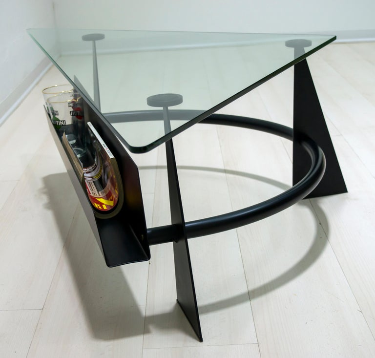 Modern and Contemporary Italian Coffee Table Blackened Metal and Glass Top, 1990 For Sale 7