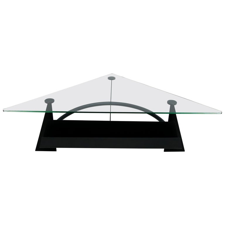 Modern and Contemporary Italian Coffee Table Blackened Metal and Glass Top, 1990 For Sale