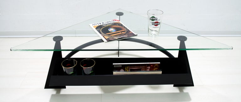 Late 20th Century Modern and Contemporary Italian Coffee Table Blackened Metal and Glass Top, 1990 For Sale