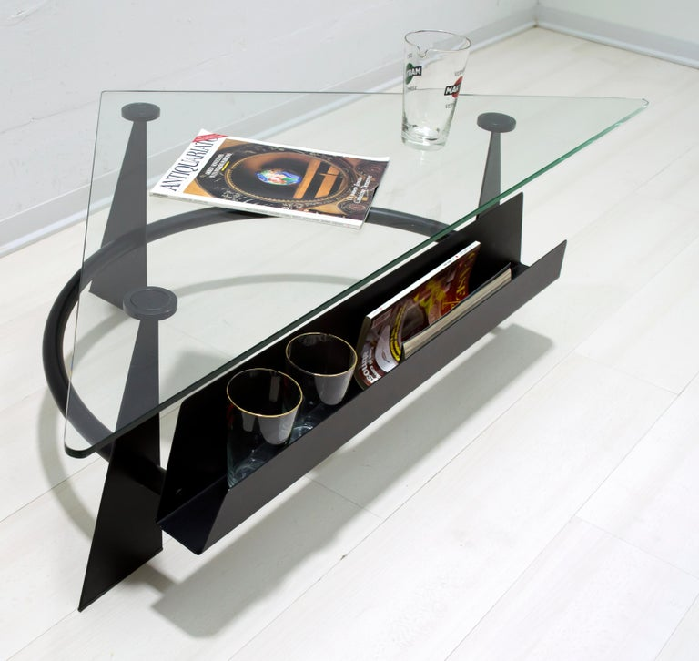 Modern and Contemporary Italian Coffee Table Blackened Metal and Glass Top, 1990 For Sale 1